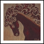 Red Horse, Decorative Arts,Paintings, Fine Art,Modernism, Animals,Decorative,Nature, Mixed,Oil, By Salome Mikaberidze