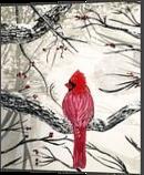 Red Robins Winter, Paintings, Fine Art, Animals, Acrylic, By adam santana