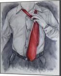 Red Tie, Paintings, Fine Art, Decorative,Inspirational,People,Portrait, Painting,Watercolor, By Kelly A Mills
