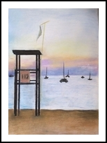 Reflecting Sunset, Pastel, Abstract,Impressionism, 3-D,Daily Life,Inspirational, Pastel, By Rachael Clare Cassidy