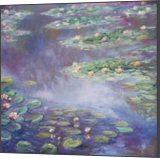 Replica of Monet s water lilies in blue, Paintings, Fine Art, Impressionism, Botanical, Floral, Land Art, Landscape, Oil, By Emilia Milcheva