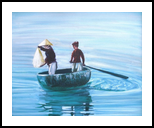 Rice Fishing, Paintings, Expressionism, Window on the World, Oil, By Jane Adrianson