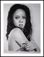 Rihannna, Drawings / Sketch, Photorealism, Portrait, Pencil, By Emmanuel Ibiwumi Abodunrin