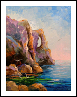 Rocky shore, Paintings, Expressionism,Impressionism, Botanical,Nature,Seascape, Canvas,Oil,Painting, By Olha   Vyacheslavovna Darchuk