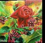 Rose, Paintings, Fine Art, Botanical,Decorative,Floral, Acrylic,Canvas, By Marta Kuźniar