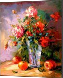 Roses and fruits, Paintings, Impressionism, Botanical,Floral,Nature,Still Life, Canvas,Oil,Painting, By Olha   Vyacheslavovna Darchuk
