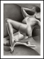 Roundism – 17-04-18, Drawings / Sketch, Abstract,Cubism,Impressionism,Realism,Surrealism, Anatomy,Erotic,Figurative,Inspirational,Nudes,People, Pencil, By Corne Akkers