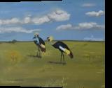Royal cranes, Paintings, Fine Art, Animals, Canvas,Oil,Painting, By Claudia Luethi alias Abdelghafar