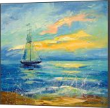 Sailboat at dawn, Paintings, Impressionism, Land Art,Landscape,Nature, Canvas,Oil,Painting, By Olha   Vyacheslavovna Darchuk