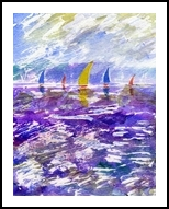 Sailing Race, Paintings, Fine Art,Impressionism,Realism, Seascape, Mixed,Watercolor, By Matthew David Evans