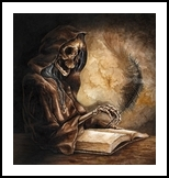 Scribe, Illustration,Paintings, Fine Art,Realism, Fantasy,Grotesque, Acrylic, By Rebecca Suzanne Magar