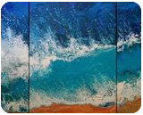 SEA triptych (large), Paintings, Abstract,Fine Art, Landscape,Nature,Seascape, Acrylic,Canvas, By Irini Karpikioti