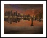 Seatle Skyline, Land Art,Paintings, Fine Art,Realism, Cityscape,Landscape, Oil, By Lana karin Fultz