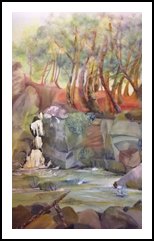 Secluded Waterfall, Paintings, Fine Art,Impressionism, Landscape, Acrylic,Pastel, By Eva Marie Hunter