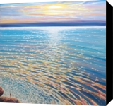 Selkie by the the sea - a large original seascape painting at sunset, Paintings, Expressionism, Seascape, Oil, By Gill Bustamante
