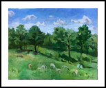 Sheep in a Meadow, Mendon, Paintings, Impressionism, Landscape, Oil, By Marc Clamage