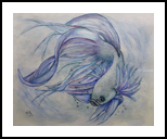 Siamese Fighting Fish, Paintings, Fine Art,Realism, Animals,Decorative, Painting,Watercolor, By Kelly A Mills