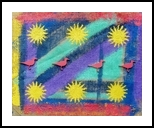 Six Suns and Some Birds, Assemblage, Pop Art, Decorative, Mixed, By Briz Conard
