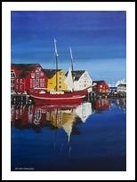 Skandinavian village, Paintings, Fine Art, Architecture, Canvas,Oil,Painting, By Claudia Luethi alias Abdelghafar