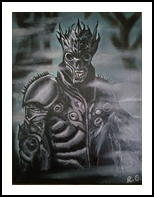 Skelletion Warrior, Paintings, Pop Art,Surrealism, Fantasy,Grotesque, Canvas,Oil,Painting, By Robert Douglas Given