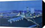 Skyline by night, Paintings, Fine Art, Architecture,Cityscape, Canvas,Oil,Painting, By Claudia Luethi alias Abdelghafar