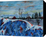 Snow wave on top of the mountain, Paintings, Expressionism,Fine Art, Daily Life,Landscape,Nature, Mixed,Painting,Pastel,Pencil, By Kate Mikhatova