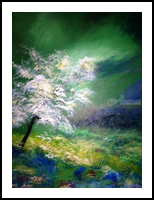 spring blossoms, Paintings, Fine Art, Landscape, Oil,Wood, By Judith Akli