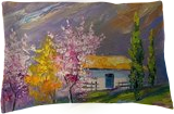 Spring in a mountain village, Paintings, Impressionism, Nature,Seascape, Canvas,Oil,Painting, By Olha   Vyacheslavovna Darchuk