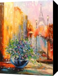 Spring in Paris, Architecture,Paintings, Fine Art,Impressionism,Romanticism, Architecture,Botanical,Cityscape,Floral, Canvas,Oil,Painting, By Olha   Vyacheslavovna Darchuk