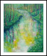 SPRINGTIME MIRROR original oil painting, Paintings, Fine Art,Impressionism,Realism, Land Art,Landscape,Nature, Canvas,Oil, By Emilia Milcheva