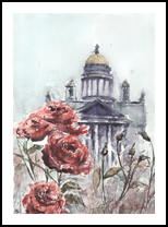 St. Isaac's Cathedral, Paintings, Fine Art, Architecture,Cityscape,Landscape, Watercolor, By Eugene Gorbachenko
