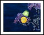 Still Life with Grapes, Paintings, Impressionism, Still Life, Watercolor, By Christina Giza
