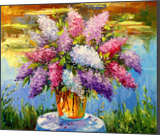 Still life with lilac by the pond, Paintings, Impressionism, Botanical,Floral,Nature, Canvas,Oil,Painting, By Olha   Vyacheslavovna Darchuk