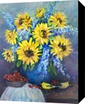 Still Life With Sunflowers, Paintings, Fine Art,Impressionism,Realism, Still Life, Oil, By Loretta D Luglio