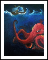 Stormy Seas, Paintings, Fine Art,Surrealism, Animals,Fantasy,Seascape, Canvas,Oil,Painting, By Robert Douglas Given