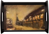Suburb at night, Paintings, Fine Art,Impressionism, Cityscape, Oil,Wood, By Angela Suto