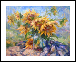 Sunflowers, Paintings, Impressionism, Floral, Canvas,Oil, By Ruslan Prus