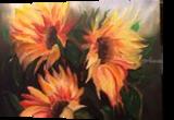 SUNFLOWERS, Decorative Arts, Romanticism, Botanical, Canvas, By elaine kapitulsky