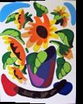 SUNFLOWERS, Paintings, Modernism, Floral, Mixed, By Zenon Wladyslaw Rozycki