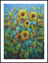 Sunflowers, Paintings, Impressionism, Floral,Landscape,Nature, Canvas,Oil, By Liudvikas Daugirdas