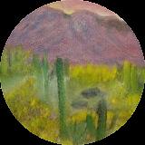 Sunset Catcus, Land Art,Paintings, Fine Art,Realism, Landscape, Canvas,Oil,Painting, By Lana karin Fultz