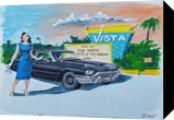 Sunset Drive-In, Illustration, Pop Art, People, Acrylic,Canvas,Painting, By Jennifer CamposWelch