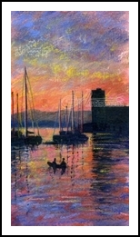 Sunset in Oban Harbour, Paintings, Fine Art,Impressionism,Realism, Composition,Landscape,Seascape, Mixed,Painting,Pastel, By Matthew David Evans