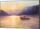 Sunset in the bay of Kotor, Paintings, Fine Art,Impressionism, Landscape,Nature,Seascape, Oil,Wood, By Angela Suto