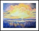 Sunset over Larnaca Salt lake, Paintings, Expressionism,Fine Art,Impressionism, Landscape,Seascape, Canvas,Oil,Painting, By Susan Kerr