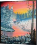 Sunset Winter, Land Art,Paintings, Fine Art, Landscape, Canvas,Oil,Painting, By Lana karin Fultz