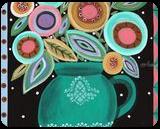 Teal Pot, Folk Art, Primitive, Floral, Acrylic, By KARLA A GERARD
