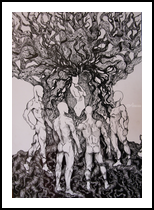 Temptation, Decorative Arts,Drawings / Sketch,Folk Art,Illustration,Tattoo, Commercial Design,Expressionism,Realism,Romanticism,Sensationalism,Surrealism,Symbolism, Anatomy,Composition,Conceptual,Dance,Decorative,Erotic,Fantasy,Floral,Grotesque,Inspirational,Nature,Nudes,Religious,Spiritual, Ink, By Misia Slemp