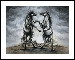 The Battle of Horses, Drawings / Sketch,Illustration,Paintings, Fine Art,Realism, Animals,Fantasy,Wildlife, Acrylic,Ink, By Rebecca Suzanne Magar