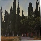 The Black Cypresses(acrylic on canvas), Paintings, Fine Art, Landscape, Acrylic, By Victoria Trok